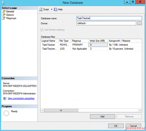 Create a database in SQL Server 2014 - step 2