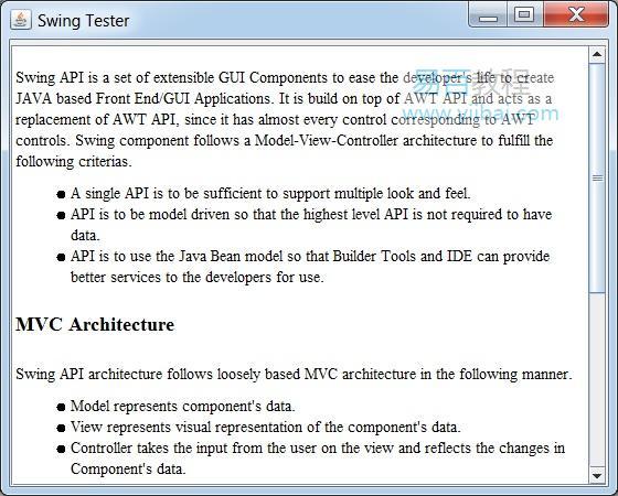在Swing中显示HTML页面