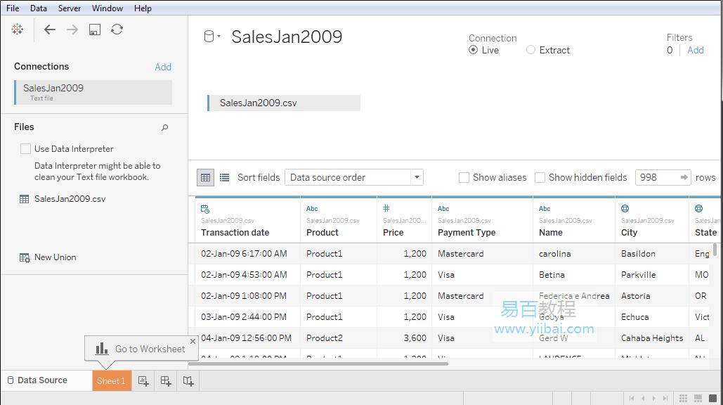 与文本文件示例的数据连接