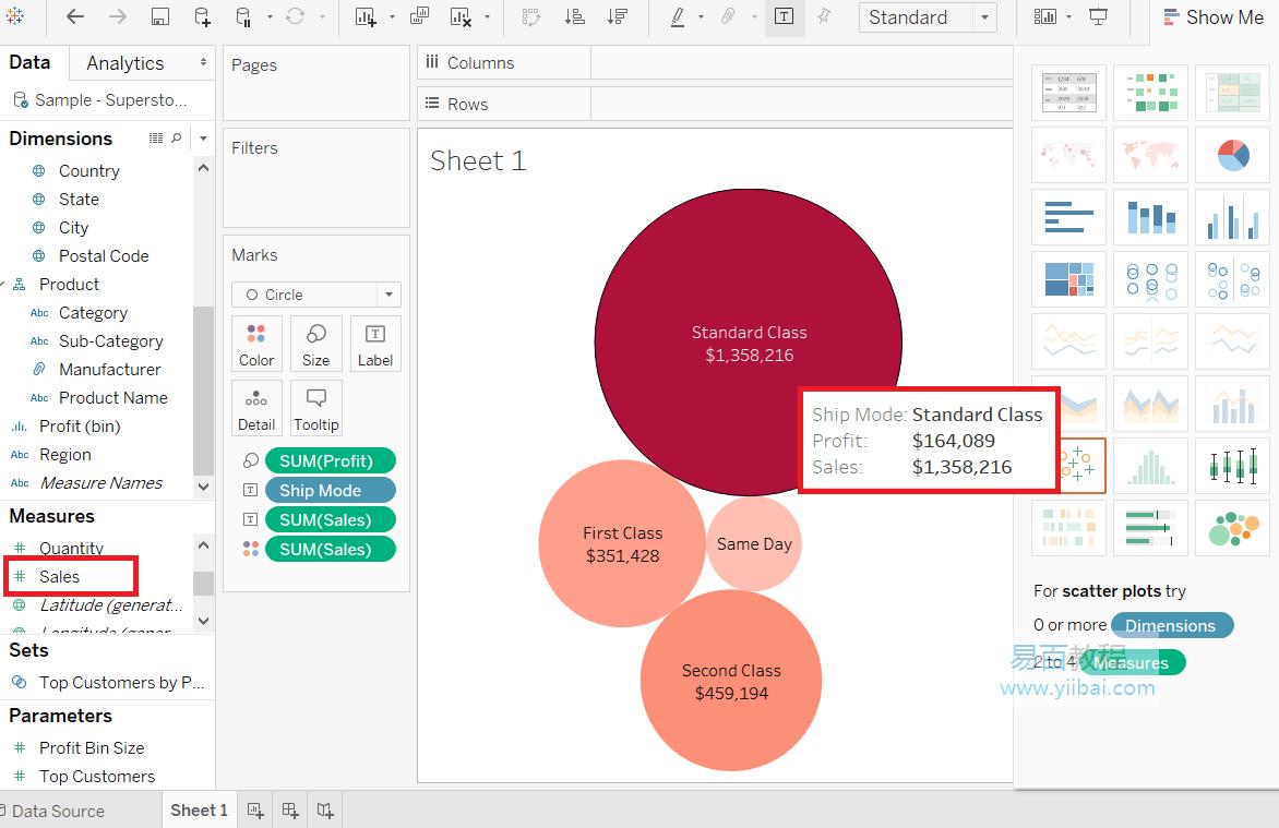 气泡图与测量颜色