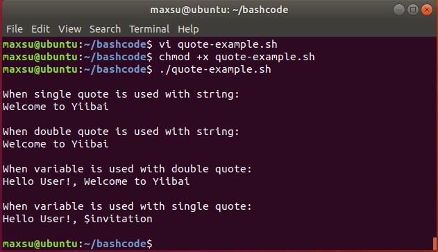 Bash引号示例