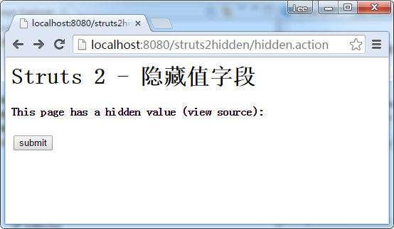 Struts2 s:hidden隐藏值例子