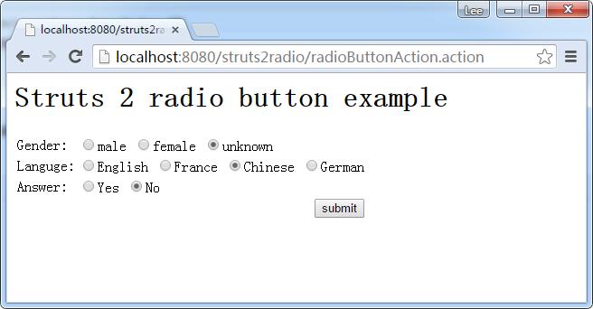 单选按钮例子